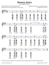 Bagpipe Grace Note Chart Amazing Grace Low Version Five Hole Pentatonic Minor