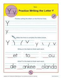Writing Practice Worksheet Letter Y Worksheets Printable Handwriting Worksheet