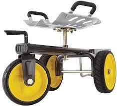 rolling garden scooter indoor outdoor yard cart no flat tires swivel seat metal gardenscooter cart