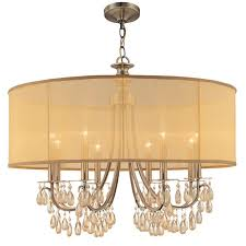 crystorama lighting group 5628 ab antique brass hampton 8 light 32 wide drum chandelier with etruscan smooth teardrop almond crystals lightingdirect com