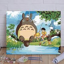 Tranh Tô Màu Theo Số, Sơn Dầu Số Hóa Hoạt Hình Totoro Câu Cá