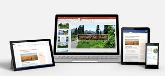 office pics. a windows tablet laptop an ipad and smartphone showing office 365 pics
