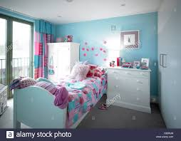 Pink Girls Bedroom Blue And Pink Girls Bedroom Stock Photo Royalty Free Image