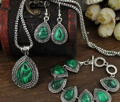 fashion green malachite stone jewelry sets charm bracelet pendant necklace women vine silver jewelry sets big green earrings in jewelry sets from jewelry