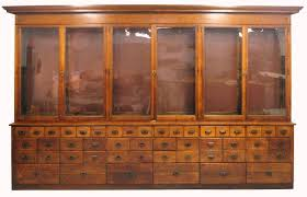 Oak Country Store Apothecary Display Cabinet