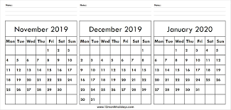 Calendar November December 2019 January 2020 Cute Calendar
