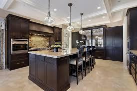 modern dark kitchen cabinets brown walnut portable island with granite top oak laminate wall mounted cabinet
