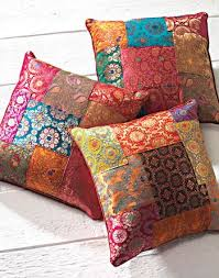 Brocade patchwork cushion cover, assorted colours 40 x 40cm