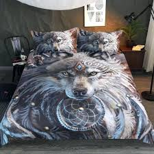wolf comforter the great warrior by bedding set 3 print wolf comforter