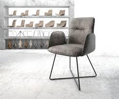 Delife Armlehnstuhl Vinja Flex Grau Vintage X Gestell Schwarz Esszimmerstühle
