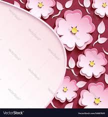 3d Paper Flower Calendar Background With 3d Sakura And Leaf