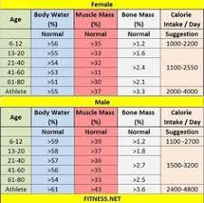 Fat Water Muscle Percentage Chart Fitnesss Net Fitnesssnet On Pinterest