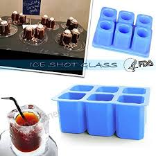 didadi 2 pack silicone ice shot glass mold 6 cups square blue ice