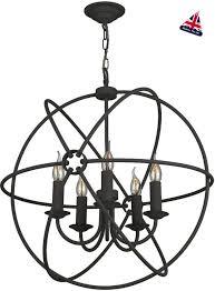 david hunt orb 60cm black iron globe 5 light ceiling pendant