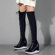 nayiduyun thigh high boots women leather lace up knee high booties wedges heel tall shaft punk sneakers motorcyle boots motorcycle boots military boots from