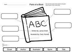 cut and label parts of a book worksheet cut out the words at