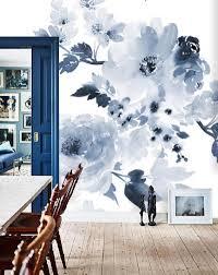 Zelfklevend Behang Xl Waterverf Bloemen Blauw 250x250 Cm Tapetshow