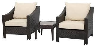 jones outdoor brown wicker bistro with cushions 3 piece set