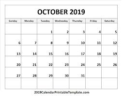 2019 October Calendar October 2019 Calendar Calendar Printable Template Holidays 2019
