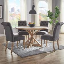 homesullivan huntington dark grey linen button tufted dining chair