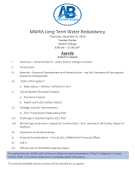 Draft Meeting Agenda Draft Agenda for MuniWorks Redundancy Meeting MWRA Advisory Board 1