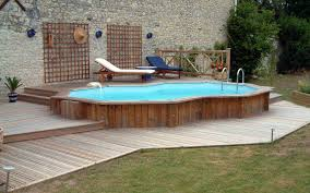 above ground pools with decks. Interesting With Small Above Ground Pool With Wooden Deck And Lounge Intended Pools With Decks