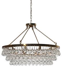 celeste glass drop crystal chandelier brass 32