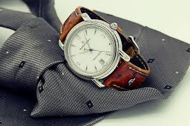a maurice lacroix dress watch with a beautiful ostrich strap