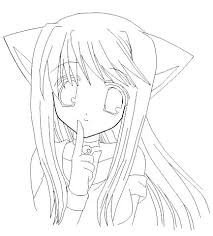 Anime Girl Coloring Pages Anime Cat Girl Colouring Pages