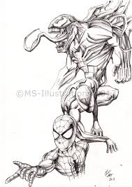 Pencil Drawing Of Venom And Spiderman