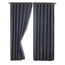 absolute zero total blackout stone blue faux velvet curtain panel 63 in length
