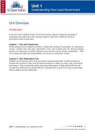 Lesson Objectives Local Government Curriculum Unit 1 Pdf