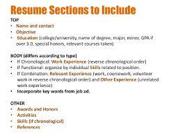Resume Sections ...
