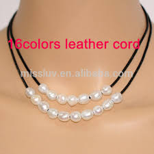 black leather and pearl necklace black string and pearl necklace freshwater baroque two layer leather pearl