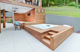 Modern cabanas design deck contemporary with hot tub recessed modern  lighting patio curtains