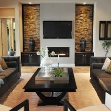 trendy living room photo in orlando with gray walls a ribbon fireplace and wall contemporary rooms o94 contemporary