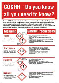 Rs Pro Coshh Safety Wall Chart Pp English 600 Mm 420mm