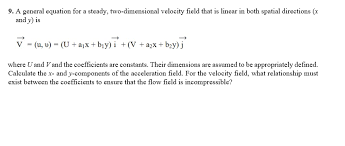 a general equation for a steady two dimensional velocity field that is