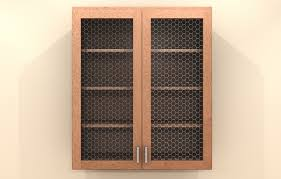 wire mesh and metal inserts glass doors miseno cabinetry