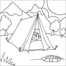 Small Picture FUN printable coloring page boy peaking head out from the tent