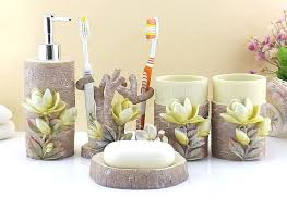 Decorative Accessories For Bathrooms Resin Bathroom Accessories Set Five pieces set 100D Mognolia Floral 12