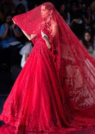 Red Net Dress Design Ruby Red Gown With A Long Head Trail With Pleated Net Border Online Kalki Fashion