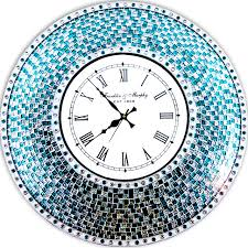 decorative mosaic wall clock 22 5 turquoise