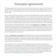 Prenuptial Agreement Template Sample Marriage Contract Form ...