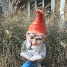 vine zeho garden gnome reading a book