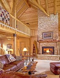 decorative fireplace screen in log home great room