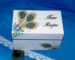 Decorative Recipe Box Hand Painted Wood Recipe Box Decorative Wooden Wedding Recipe 37