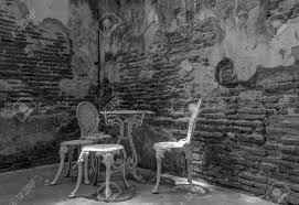oldbrick furniture. Garden Furniture Set With Old Brick Wall Black And White Version Oldbrick I
