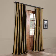 exclusive fabrics black gold stripe faux silk taffeta curtain panel free today com 13432990