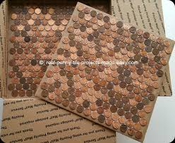 Tile sheets of pennies that can be installed on floors, walls, counter tops,